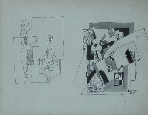 Béla KADAR - Disegno Acquarello - Constructivist Composition with Nude by a Table
