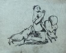 Béla KADAR - Dibujo Acuarela - Praying Man with Pigs