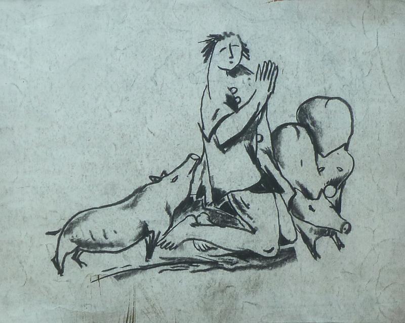 Béla KADAR - Drawing-Watercolor - Praying Man with Pigs