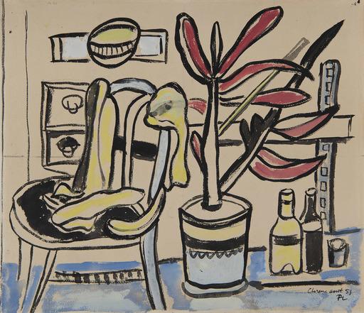 Fernand LÉGER - Dessin-Aquarelle - Une chaise, pot de fleurs, deux bouteilles