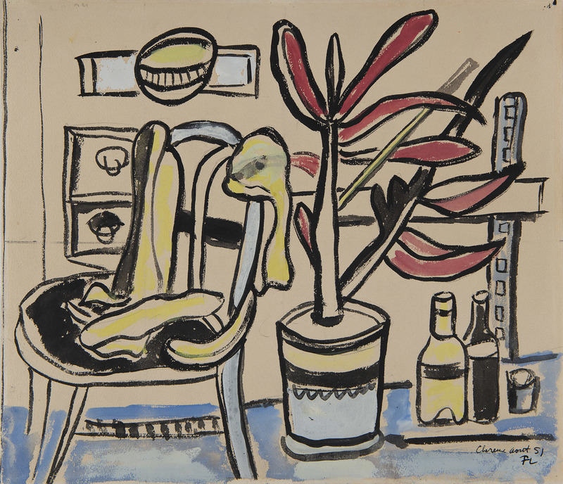 费尔南‧雷杰 - 水彩作品 - Une chaise, pot de fleurs, deux bouteilles