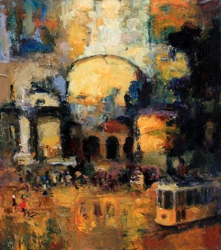 Levan URUSHADZE - Pintura - Landscape with tram