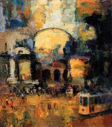 Levan URUSHADZE - Painting - Landscape with tram