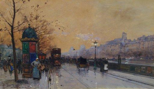 Eugène GALIEN-LALOUE - Drawing-Watercolor - Along the Seine, Paris