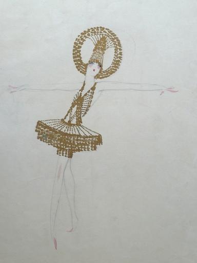 Charles Carl GESMAR - Drawing-Watercolor - Mistinguette (Dancer with Golden Hoop on Head)