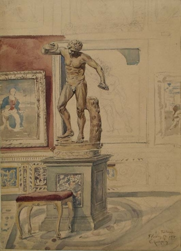 "Carl VON KRATZER - Drawing-Watercolor - ""Interior of Uffizi in Florence"" by Carl von Kratzer"
