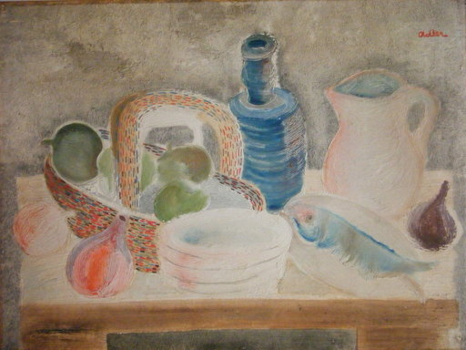 Jankel ADLER - Pintura - Still Life with Fish and Bottle