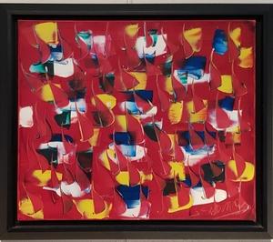 Jean Claude NOVARO - Peinture - Composition sur fond rouge