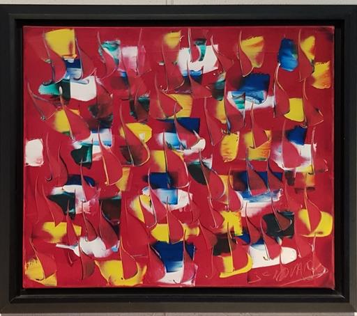 Jean Claude NOVARO - Pittura - Composition sur fond rouge