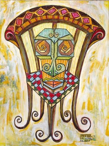 Arnaud GRACIENT - Pittura - Tête sculptée sur chaise
