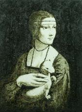 Enzo FIORE - Painting - Appropriazione - La dama con l'ermellino ( 0337/EF)