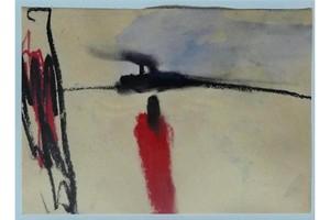 Karl Heinz BOHRMANN - Dessin-Aquarelle - Rote Frau in Landschaft