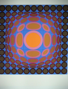 Victor VASARELY, Orange and Blue Composition