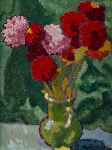 Louis VALTAT - Peinture - Vase de dahlias