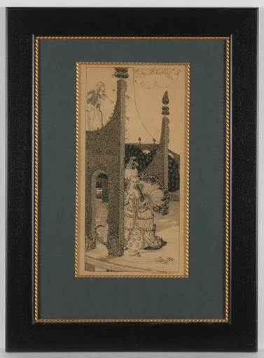 """Julius DIEZ - Dessin-Aquarelle - """"Love Letter"""" by Julius Diez, 1900"""