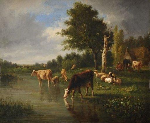 Constant TROYON - Pintura - Troupeau à l'étang