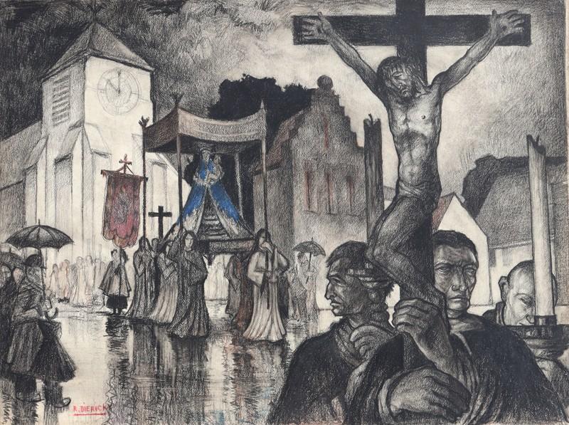 """Raymond DIERICKX - Disegno Acquarello - """"LA PROCESSION SOUS LA PLUIE"""""""