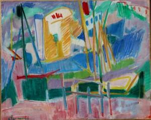 """Gisèle FERRANDIER - Pintura - """"LE PORT/MAROCAINES A L'OASIS"""""""