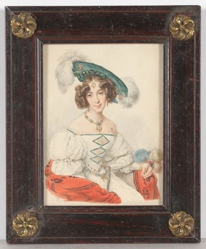 "Karl Josef Aloys AGRICOLA - Miniature - ""Portrait of a Young Aristocratic Lady"", 1829, Watercolor"