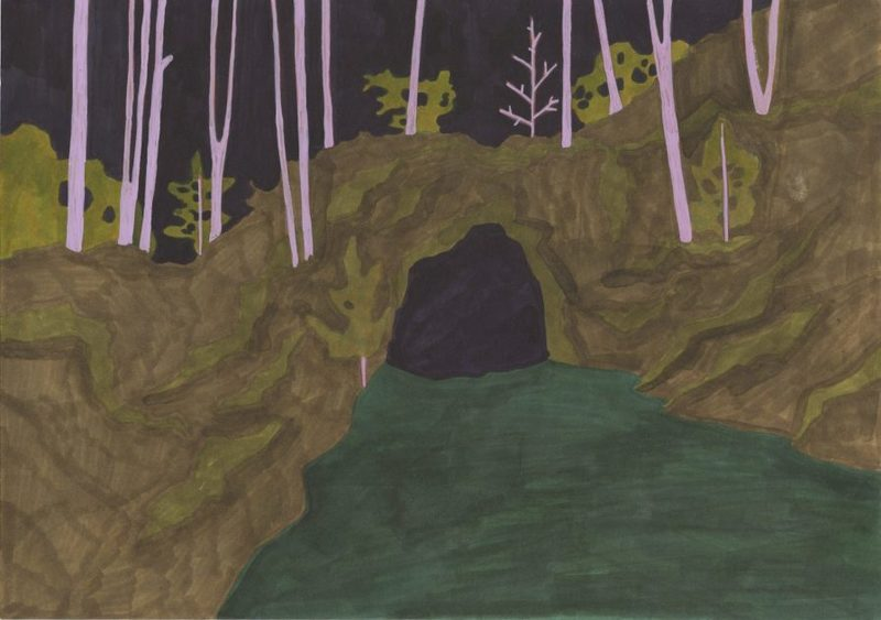 Marie LARRIVÉ - Drawing-Watercolor - « Grotte Entrée »