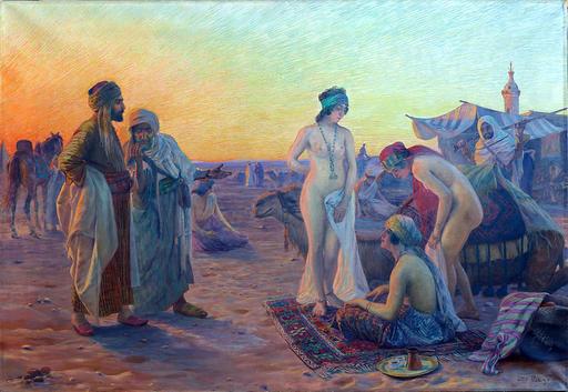 Otto F. PILNY - Gemälde - Orientalischer Sklavenmarkt