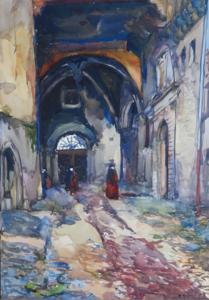 Charles ANGRAND - Drawing-Watercolor - The Kasbah street – Maghreb