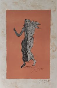 Georges BRAQUE - Print-Multiple - Personnage sur fond rose