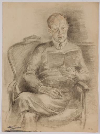 "Silvia KOLLER - Dessin-Aquarelle - ""Portrait of a Reading Man"", 1930's"