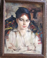Nikolay FESHIN - Painting - Two portraits of daughter Eya