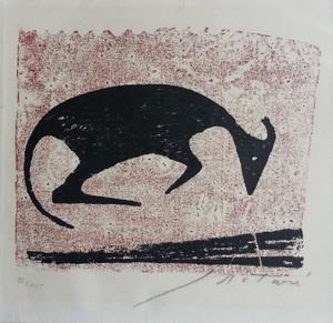 Ewald MATARÉ - Grabado - Liegende Kuh I