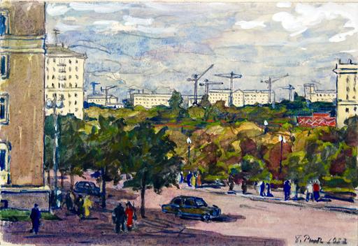 Boris Fedorovich RYBCHENKOV - Dibujo Acuarela - New Construction in Moscow