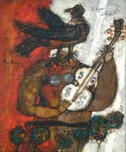 Théo TOBIASSE - Painting - Le Pigeon Violoniste