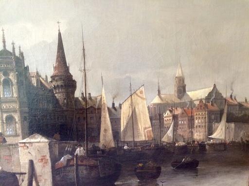 August VON SIEGEN - Pintura - Blick auf Antwerpen von der Scheide/ Belgien,Belgium,Vedute