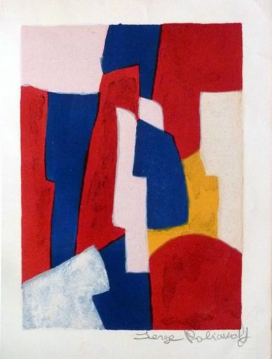 Serge POLIAKOFF - Estampe-Multiple - Composition bleue,rouge et rose  34