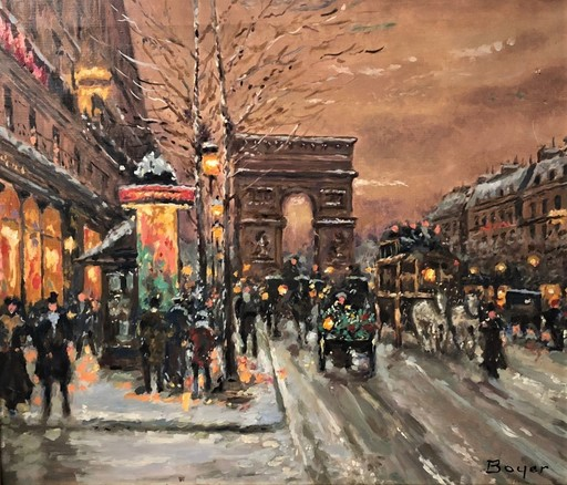 """Emile BOYER - Painting - """" Les Champs Elysées sous la neige """""""