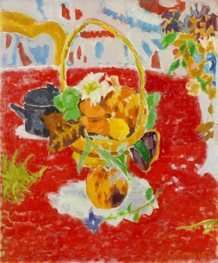 Jules CAVAILLES - Painting - Corbeille de fruits
