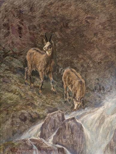 Frédéric ROUGE - Gemälde - les chamois