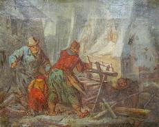 Johan H. GRADT - Painting - Holz sägen im Winter