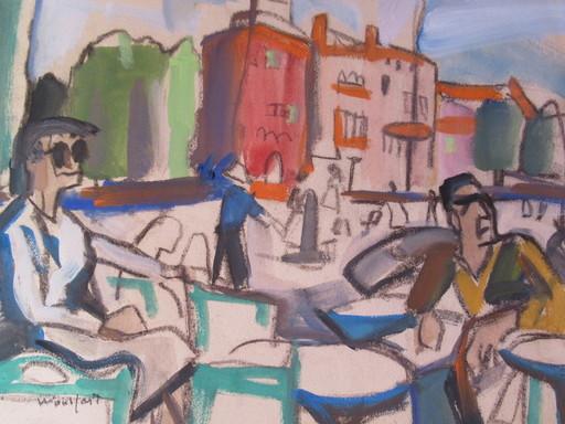 Marius WOULFART - Drawing-Watercolor - Terrasse de café ensoleillée