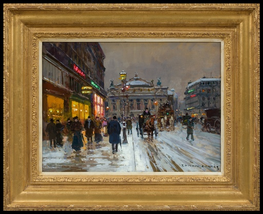 Édouard CORTES - Peinture - Avenue de l'Opéra, Soir de Neige