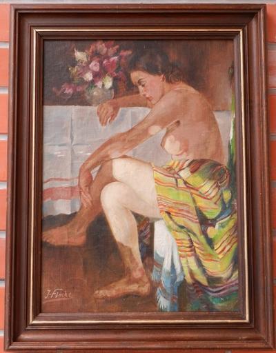 Julius FLACHE - Pintura - Sitting woman act