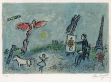 Marc CHAGALL - Estampe-Multiple - The painter and his double (2nd state)
