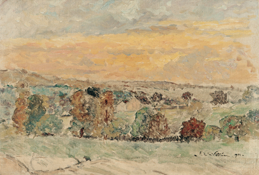 Emmanuel DE LA VILLÉON - Pintura - Paysage (Nièvre) 1901