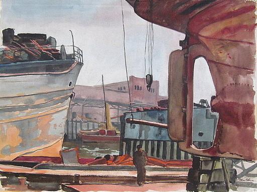 Paul MECHLEN - Drawing-Watercolor - Schiffswerft mit Dampfern auf Reede.