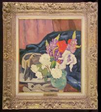 Louis VALTAT - Pintura - Fleurs, gants et chapeau
