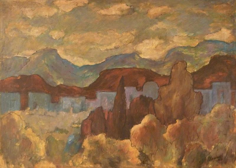 Jakob STEINHARDT - Painting - Landscape in Israel