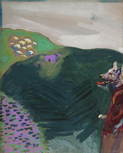 马克•夏加尔 - 水彩作品 - Le loup devenu berger