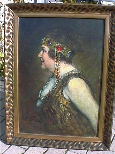 Ferdinand LEEKE - Pintura - Vornehme Dame des Jugendstils