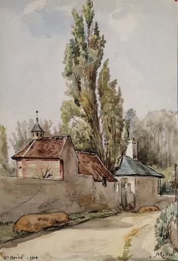 Alfred KELLER - Dibujo Acuarela - Saint Brice - Val d'Oise (KP14)