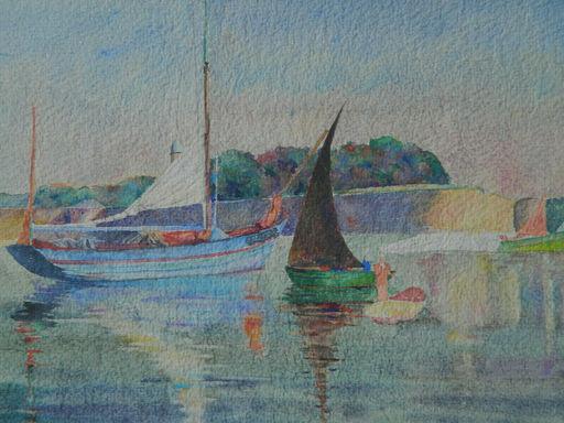 Marguerite Mary DARBOUR - Dibujo Acuarela - PAYSAGE - LANDSCAPE - BATEAUX
